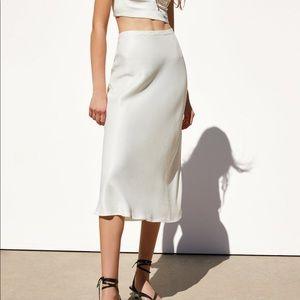 White Satin Skirt